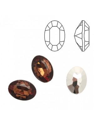 Gemma ovale sfaccettata, in resina, colore MARRONE