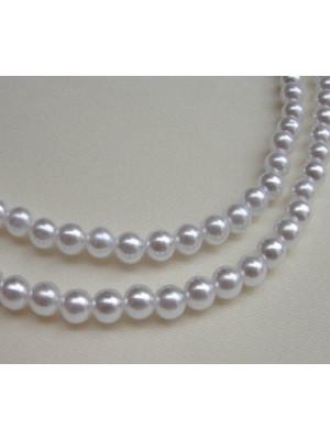 Filo di perle effetto perlato tonde in resina butterfly colore bianco