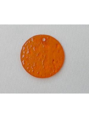 Paiette ghiacciata in resina con foro in alto color Arancione