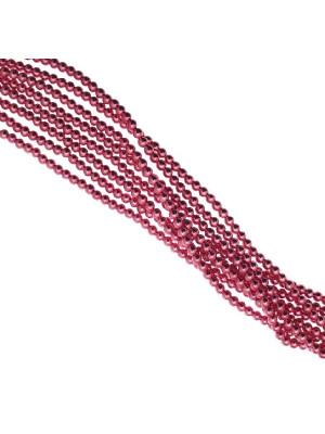 Filo di perle effetto perlato, tonde, in resina butterfly, 4 mm., colore Fucsia