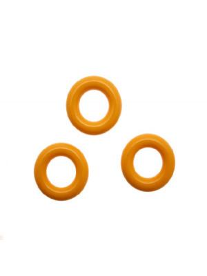 Cerchio bombato, forato al centro, in resina diametro 20 mm., spessore anello 5 mm., colore Giallo Ocra