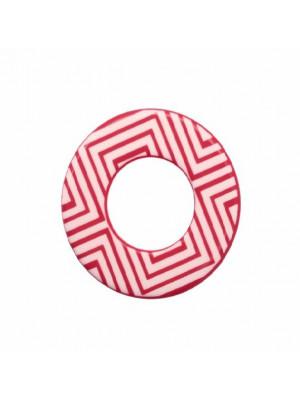 Cerchio piatto, 44 mm., forato al centro, in resina Fucsia con disegni geometrici bianchi
