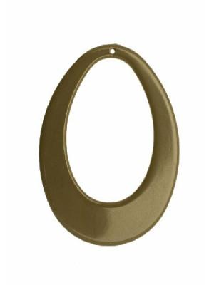 Filigrana a goccia piatta ovale, forata al centro, con un foro in alto, 58x78 mm., colore Fango