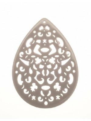 Filigrana a goccia, traforata a riccioli, in resina, 57x74 mm., color Grigio