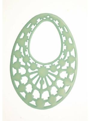 Filigrana ovale gigante, forata in alto, in resina, 60x80 mm., colore Verde molto chiaro