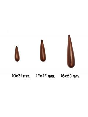 Goccia liscia allungata in resina, color Marrone perlato
