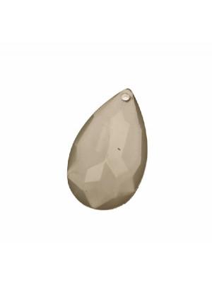 Goccia piatta multisfaccettata con foro in testa, in resina, 42x25 mm., color Grigio Opale