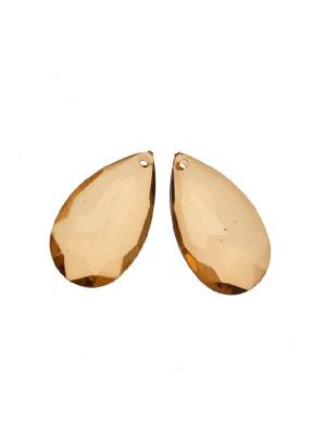 Goccia piatta multisfaccettata con foro in testa, in resina, 42x25 mm., color Marrone medio trasparente