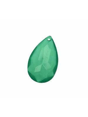 Goccia piatta multisfaccettata con foro in testa, in resina, 42x25 mm., color Petrolio Opale