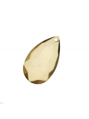 Goccia piatta multisfaccettata con foro in testa, in resina, 42x25 mm., color Verde oliva chiaro trasparente