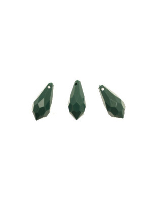 Goccia sfaccettata con foro in testa, in resina, 23x11 mm., color Verde smeraldo