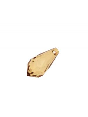 Goccia sfaccettata con foro in testa, in resina, 23x11 mm., color Topazio trasparente