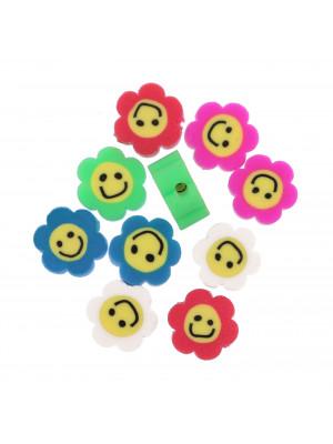 Fiorellini colorati in gomma, diametro 9 mm., colori misti
