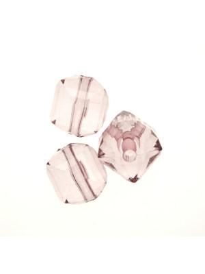 Cubo sfaccettato in resina, color Light Ametista trasparente
