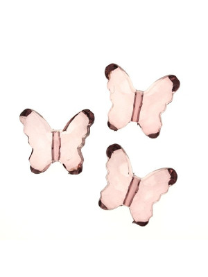 Farfalla con foro passante in resina color Light Ametista trasparente