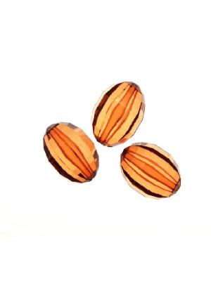 Oliva bombata foro passante multisfaccettata in resina color Marrone Copper