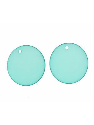 Paiette tonda liscia piatta con foro in alto, in resina, color Blue zircon opale