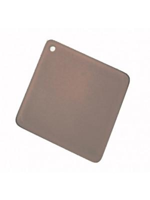 Rombo incurvato liscio con foro in alto, in resina, 44x48 mm., color Grigio scuro opale