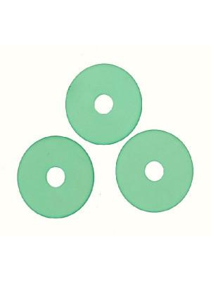 Tondo piatto liscio con foro al centro, in resina, 29 mm., color Smeraldo opale