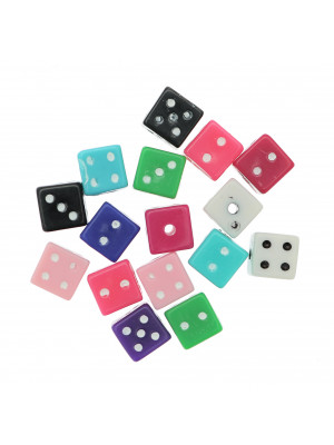 Distanziatore a forma di dado, in plastica, dimensione 7 mm., colori assortiti