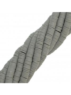 Filo di rondelle in pasta polimerica, 6x1 mm., lunghezza filo 40-41 cm., colore GRIGIO