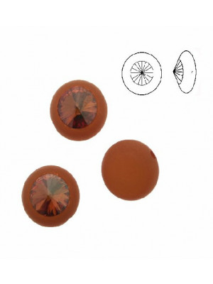 Pasticca tonda piatta, in resina, con rivolo SS47 incastonato, larga 16 mm. alta 12 mm., color MARRONE MATTONE SATINATO