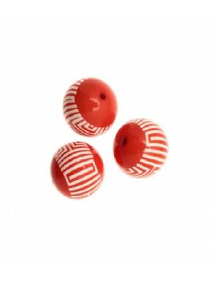 Palla liscia, in resina, 23 mm. color Corallo con fascia centrale con disegni geometrici bianchi