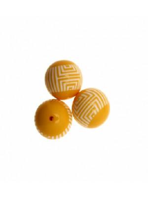Palla liscia, in resina, 23 mm. color Giallo Ocra con fascia centrale con disegni geometrici bianchi