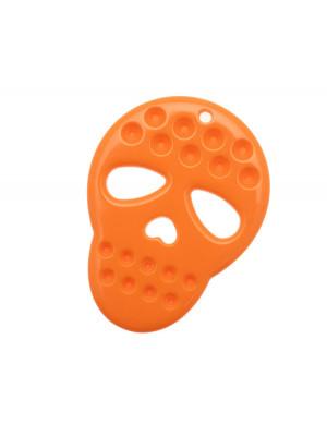 Teschio piatto, in resina, 41x54 mm., colore Arancione fluorescente
