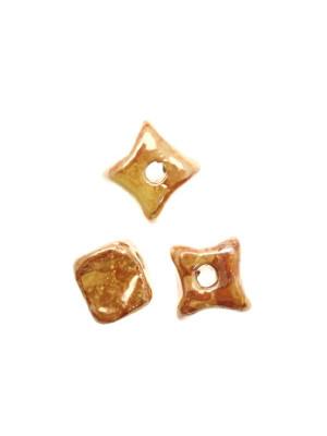Cubo irregolare liscio in ceramica, 16 mm., color Arancione scuro sfumato