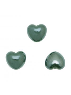Cuore perlato, bombato in ceramica, 17x15 mm., colore Verde Scuro
