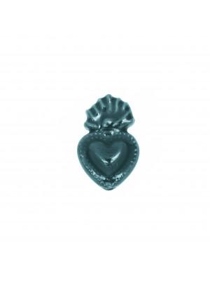 Cuore Sacro, in ceramica, con effetto perlato, 16x11 mm., colore Petrolio