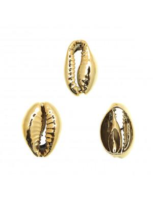 Conchiglia ciprea, tagliata sotto, galvanizzata nel colore oro lucido, 10x15 mm.