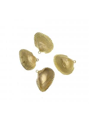 Conchiglia a Ventaglio, galvanizzata in metallo, colore Oro, 28x33 mm.