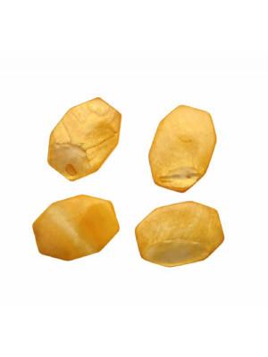 Ottagono lungo piatto in conchiglia con foro passante, 20x30 mm., colore Giallo