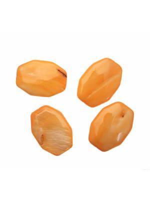 Ottagono lungo piatto in conchiglia con foro passante, 20x30 mm., colore Arancione