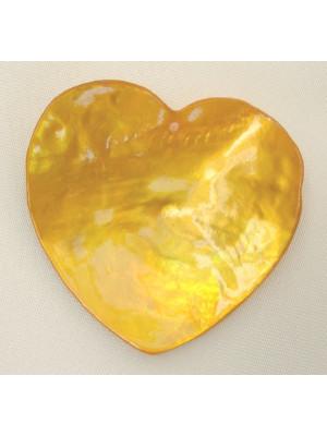 Ciondolo in madreperla a forma di cuore, colore Ambra