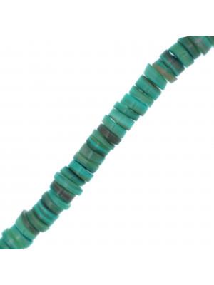 Filo di Rondelle irregolari in Madreperla, 6x2 mm. circa, colore Turchese
