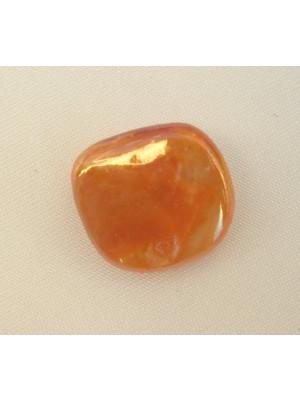 Sasso lucido in madreperla, 18 mm., colore Arancione