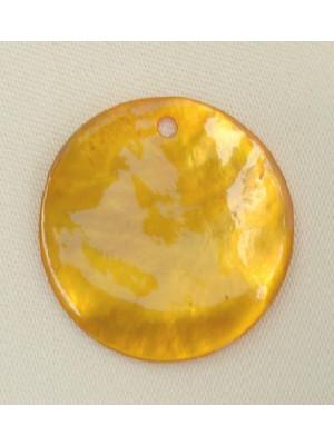 Ciondolo in madreperla a forma di tondo, colore Ambra