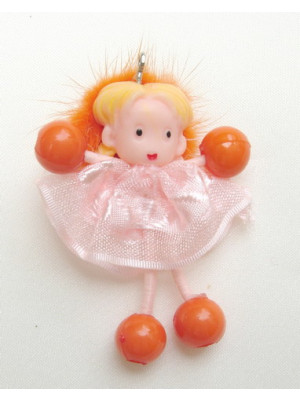 Bambolina spiritosa leggera, altezza 6 cm.