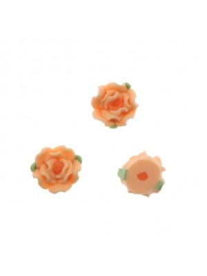 Rosa in pasta di fimo colorata, piatta sotto, con foro passante, larga 10 mm., alta 7,5 mm., colore Salmone