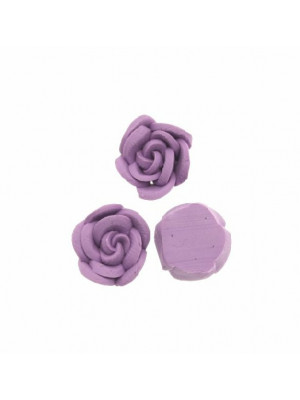 Rosa in pasta di fimo colorata, piatta sotto, da incollo, larga 10 mm., alta 5 mm., colore Viola