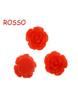 Rosa in resina colorata, piatta sotto, da incollo con foro passante, larga 18 mm., colore Rosso