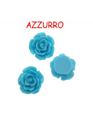 Rosa in resina colorata, piatta sotto, da incollo con foro passante, larga 18 mm., colore Azzurro