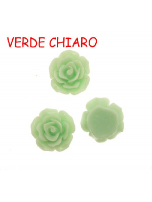 Rosa in resina colorata, piatta sotto, da incollo con foro passante, larga 18 mm., colore Verde chiaro