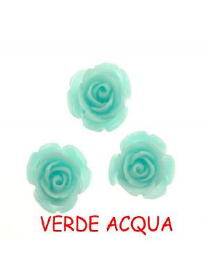 Rosa in resina colorata, piatta sotto, da incollo con foro passante, larga 18 mm., colore Verde acqua