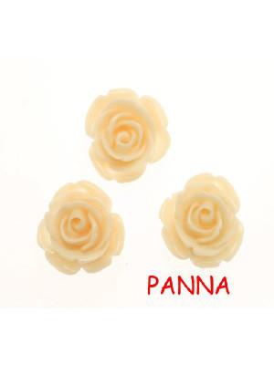 Rosa in resina colorata, piatta sotto, da incollo con foro passante, larga 20 mm., colore Panna