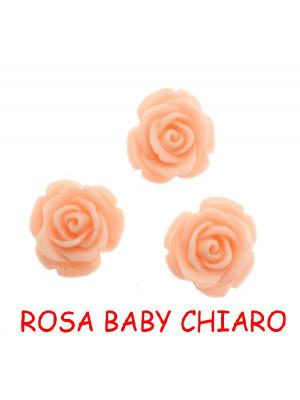 Rosa in resina colorata, piatta sotto, da incollo con foro passante, larga 20 mm., colore Rosa baby chiaro
