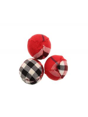 Palla in stoffa scozzese, color ROSSO